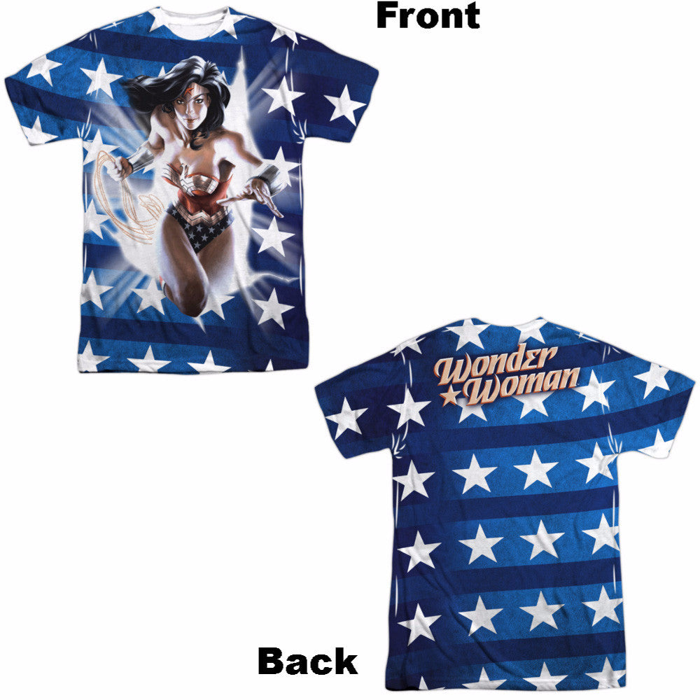 Wonder Woman Ripped Flag Adult Tee - Front and Back Print