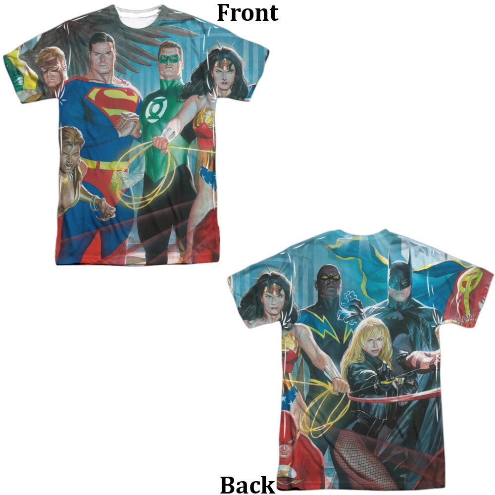 Justice League League of Heros Adult Tee - Front And Back Print