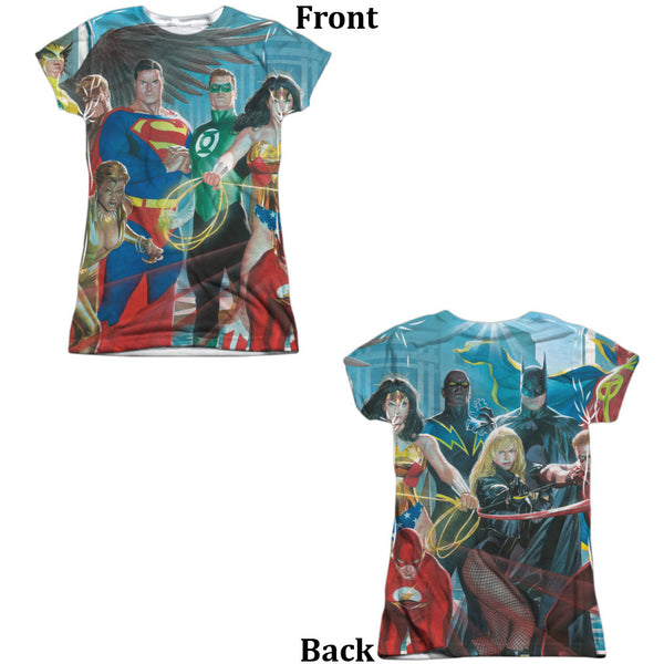Justice League League of Heros Juniors Tee - Front And Back Print