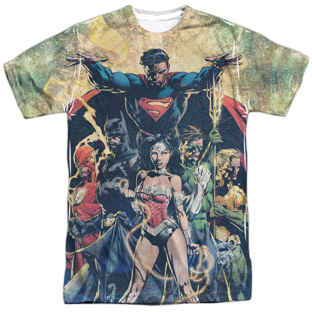 Justice League Power Adult Tee - Front Print Only