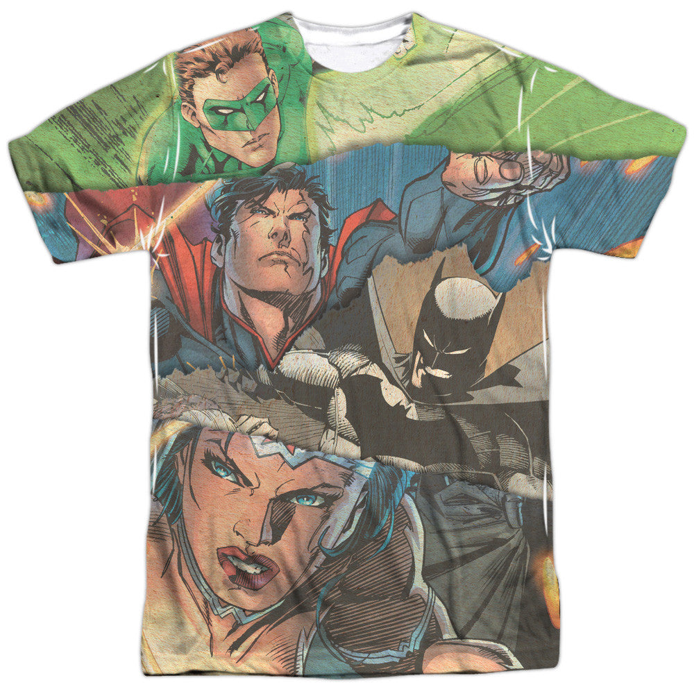 Justice League Torn Adult Tee - Front Print Only