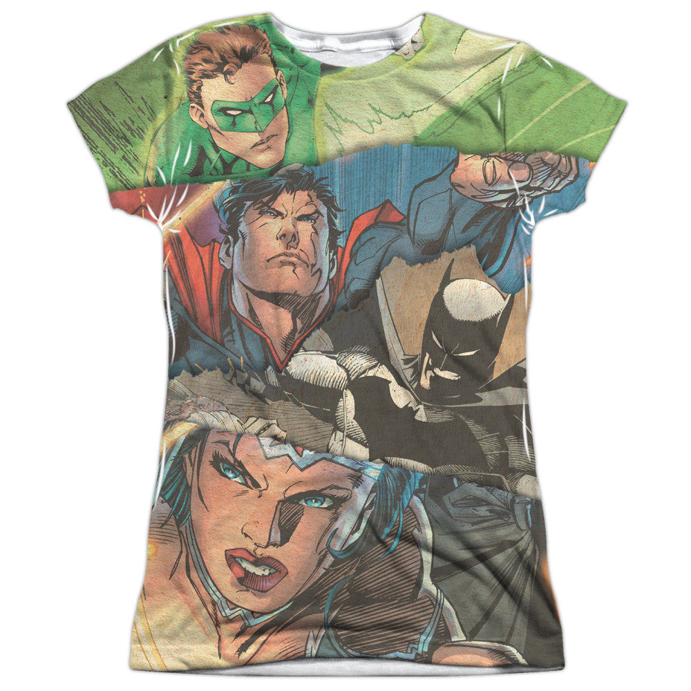 Justice League Torn Juniors Tee - Front Print Only