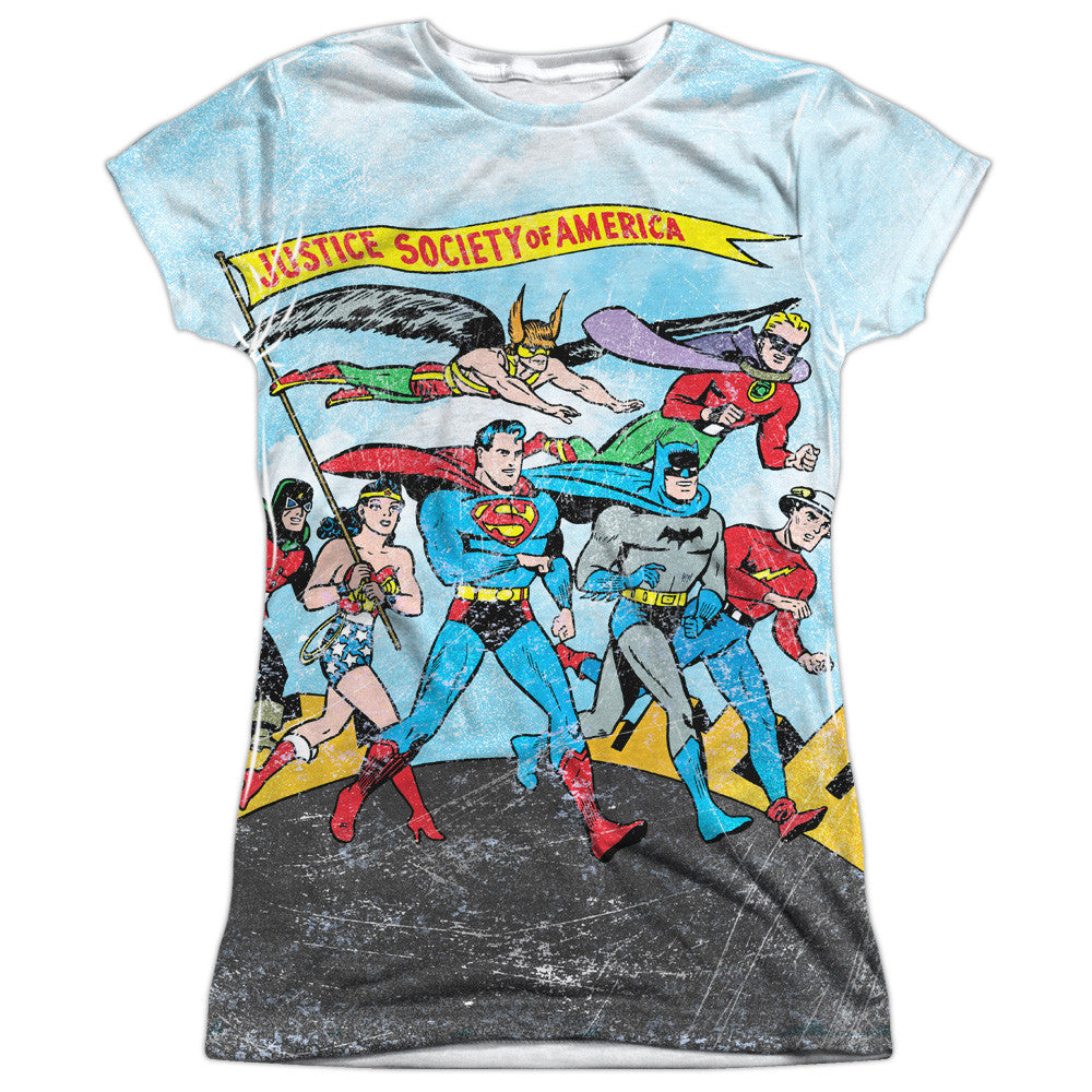 Justice League World Cure Juniors Tee - Front Print Only
