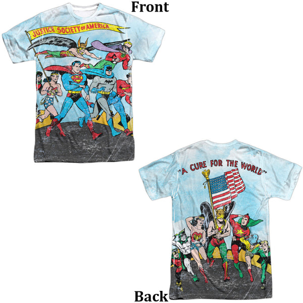 Justice League World Cure Adult Tee - Front And Back Print