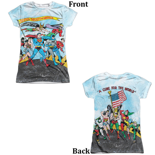 Justice League World Cure Juniors Tee - Front And Back Print