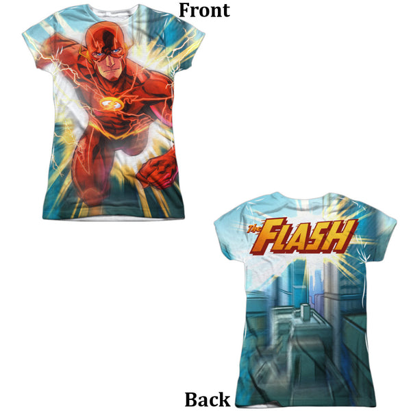 Flash Faster Than Lightning Juniors Tee - Front And Back Print