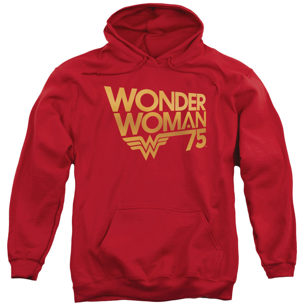 Wonder Woman 75th Anniversary Gold Logo Adult Hoodie