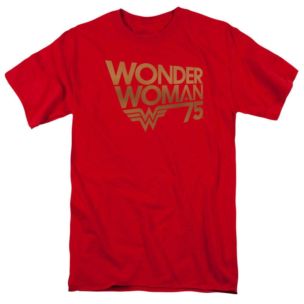 Wonder Woman 75th Anniversary Gold Logo Adult Tee
