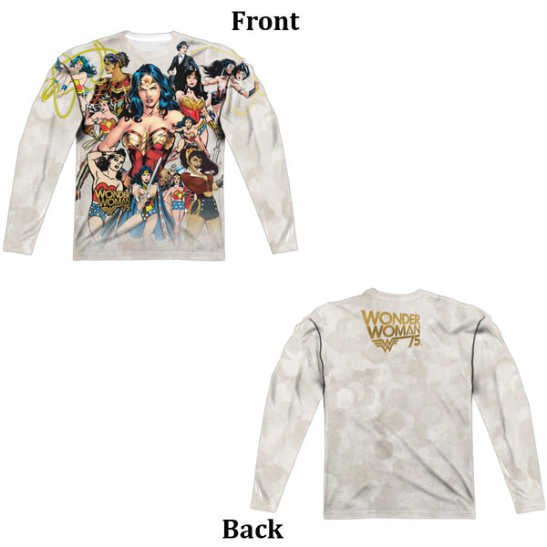Wonder Woman 75th Collage Adult Long Sleeve Tee - Front And Back Print