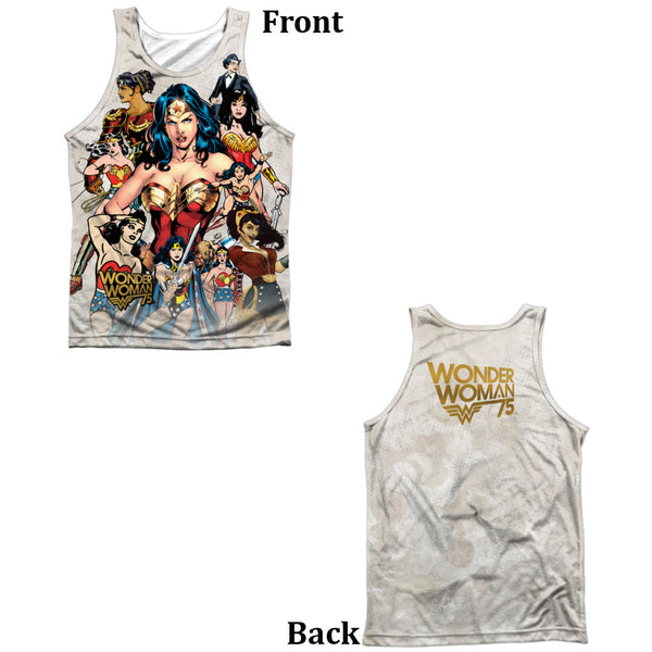 Wonder Woman 75th Collage Adult Tank Top - Front And Back Print