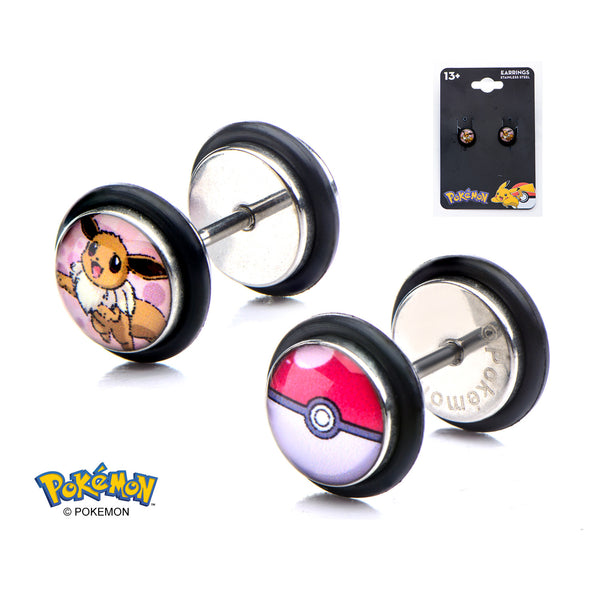 Pokemon Eevee 18 Gauge Faux Plug Earrings