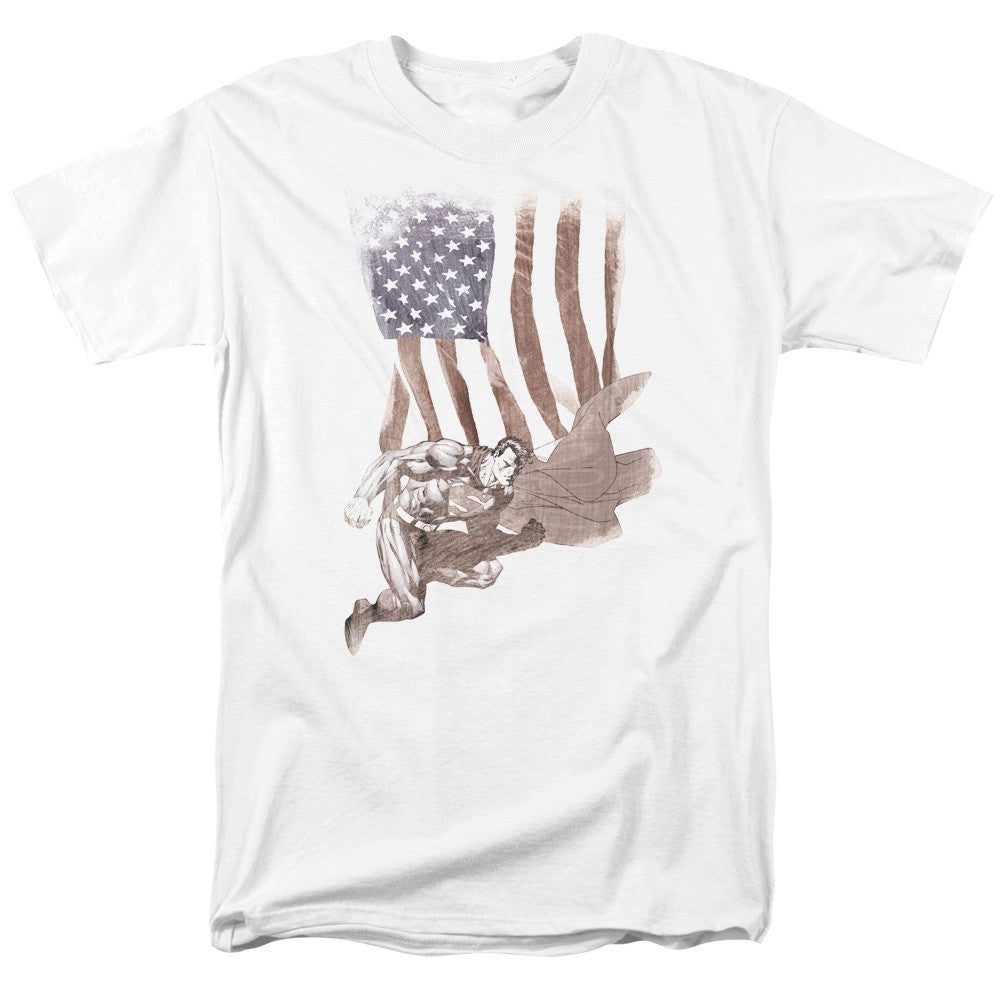 Superman American Flag Adult Tee