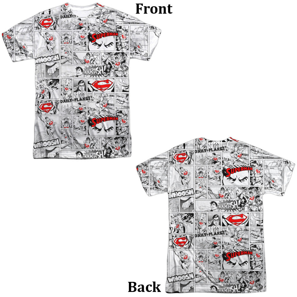 Superman Comic Page Adult Tee - Front and Back Print