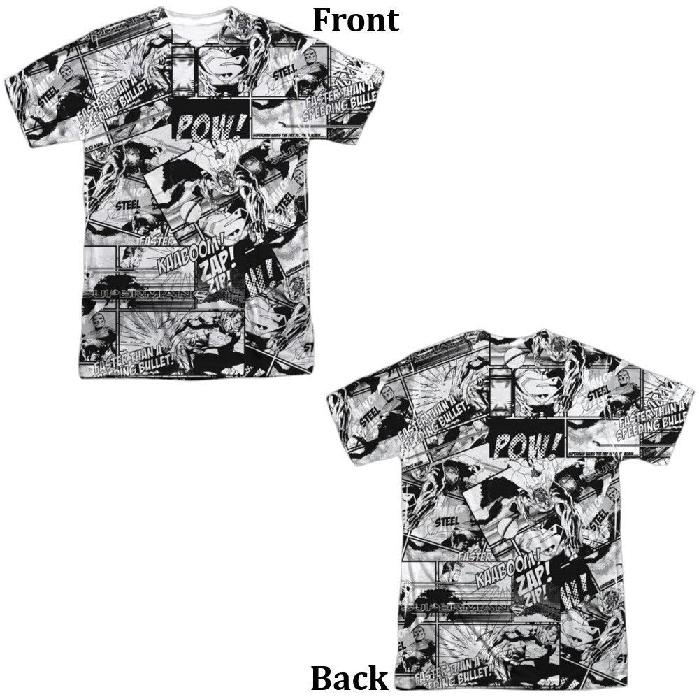 Superman Comic Strips Adult Tee - Front And Back Print