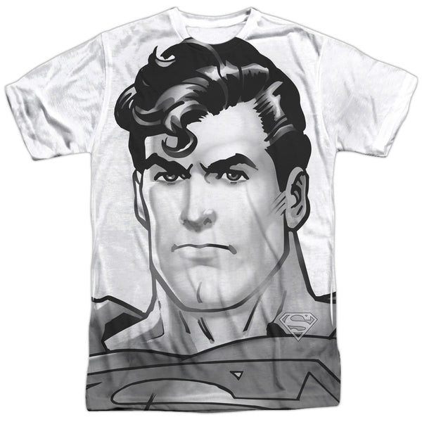 Superman BW Supes Head Adult Tee - Front Print Only
