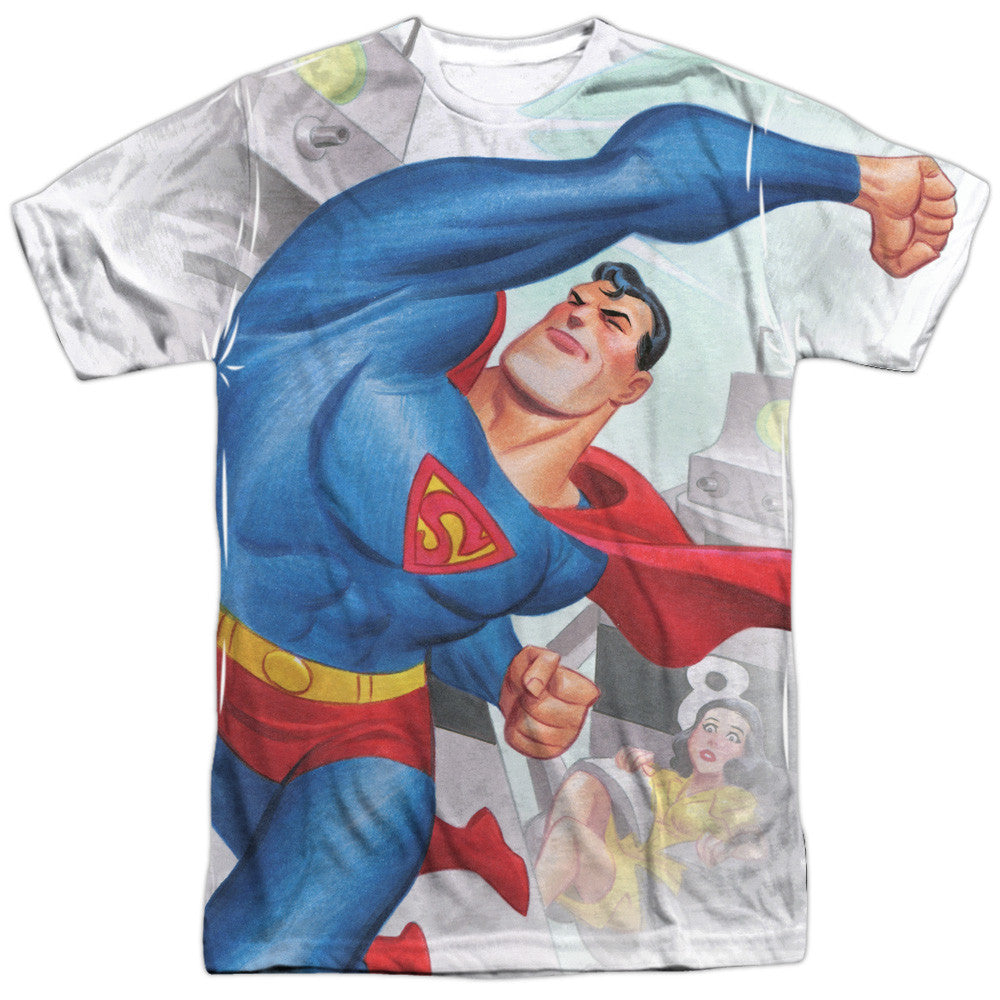 Superman Classic Robots Adult Tee - Front Print Only