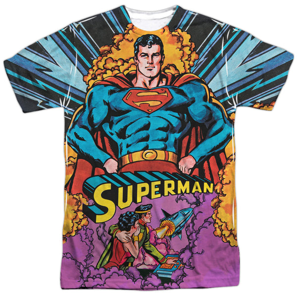 Superman Blast Off Adult Tee - Front Print Only