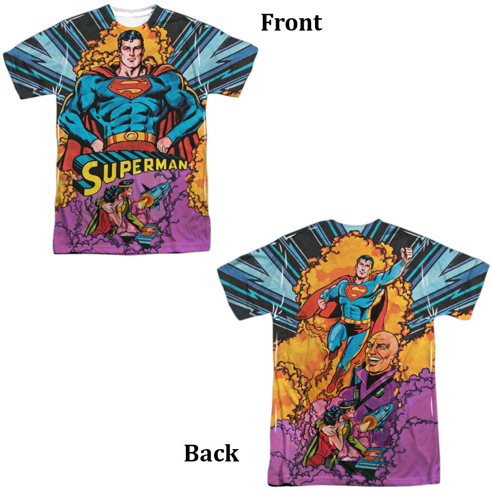 Superman Blast Off Adult Tee - Front and Back Print