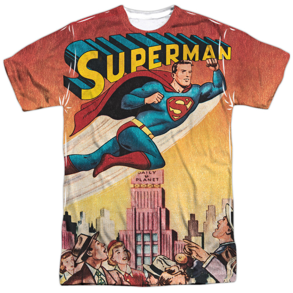 Superman City Flying Adult Tee - Front Print Only