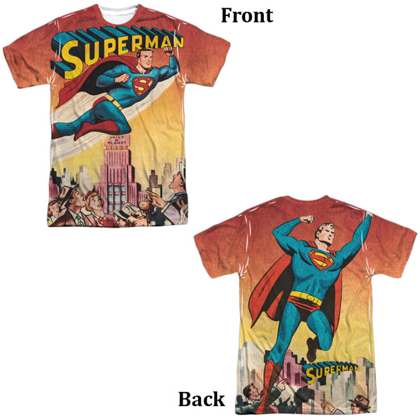 Superman City Flying Adult Tee - Front and Back Print