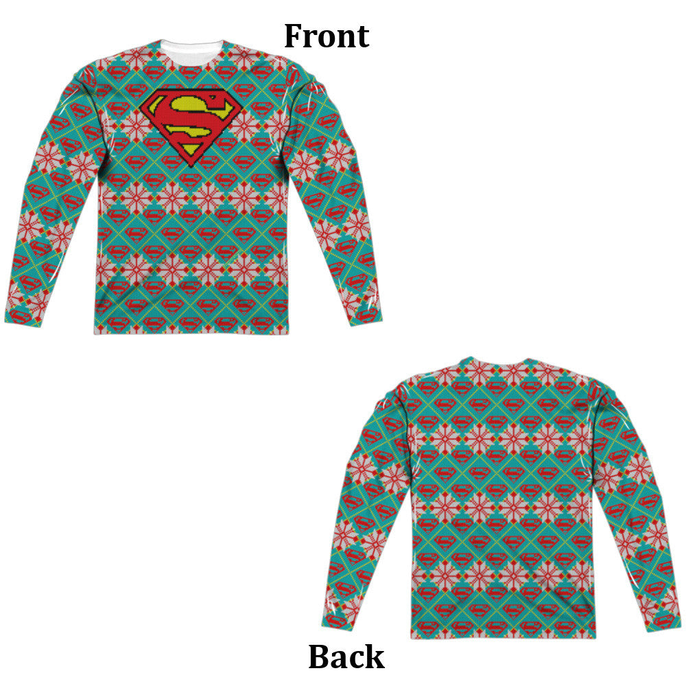 Superman Shield Ugly Christmas Sweater Long Sleeve Tee - Front and Back Print
