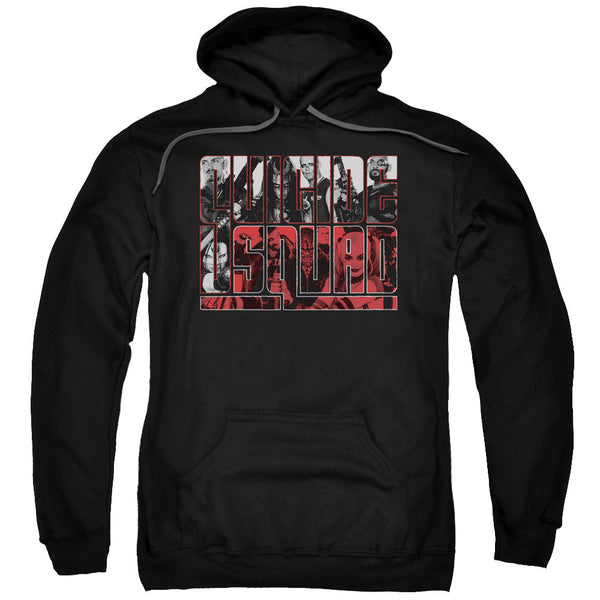 Suicide Squad Black and Red and White All Over Adult Hoodie