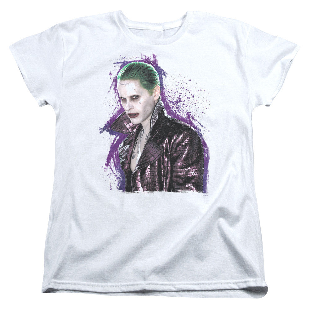 Suicide Squad Joker Stare Womens Tee - White