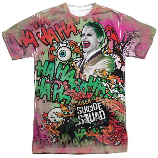 Suicide Squad Joker Psychedelic Cartoon Adult Tee - Front Print Only