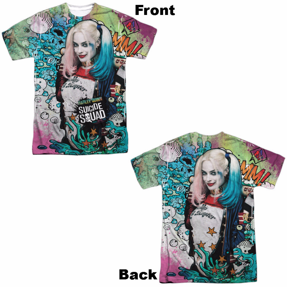 Suicide Squad Harley Psychedelic Cartoon Adult Tee - Front and Back Print