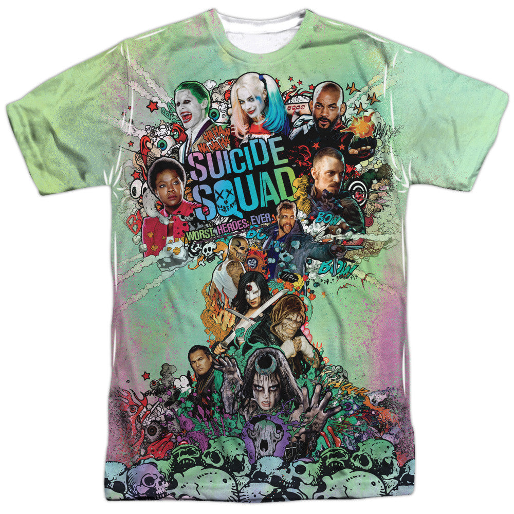 Suicide Squad Psychedelic Cartoon Adult Tee - Front Print Only