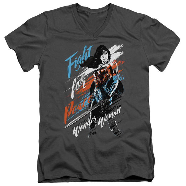Wonder Woman Movie Fight For Peace Adult Slim Fit V-Neck Tee
