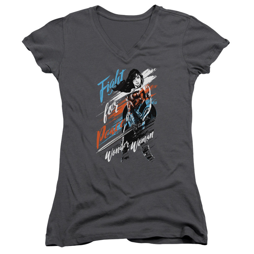 Wonder Woman Movie Fight For Peace Juniors V-Neck Tee