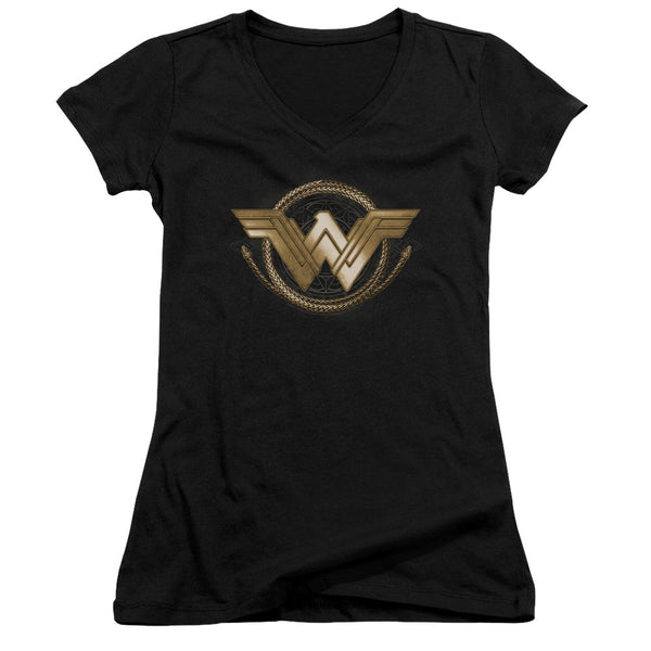 Wonder Woman Movie Lasso Logo Juniors V-Neck Tee