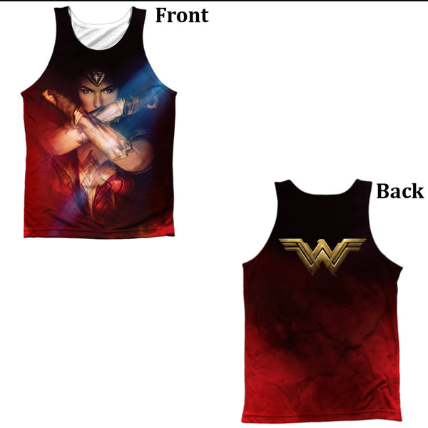 Wonder Woman Movie Arms Crossed Adult Tank Top - Front And Back Print