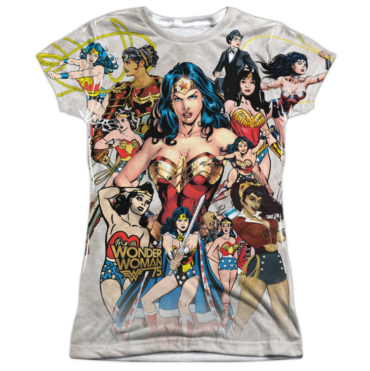 Wonder Woman 75th Collage Juniors Tee - Front Print Only