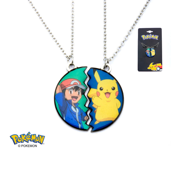Pokemon Ash and Pikachu Necklace Set