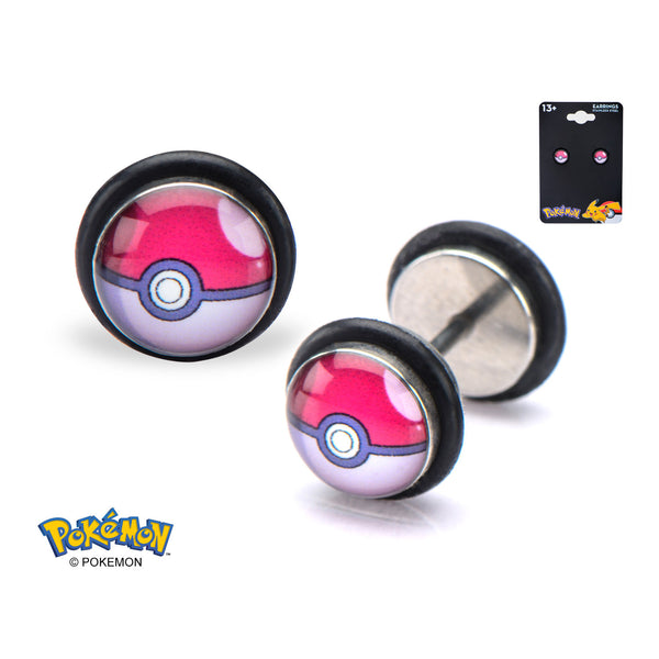 Pokemon Poke Ball 18 Gauge Faux Plug Earrings