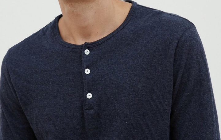 Double Faced Henley In Navy Kid