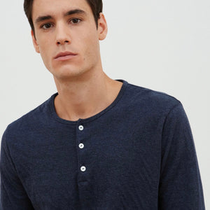 Double Faced Henley Navy