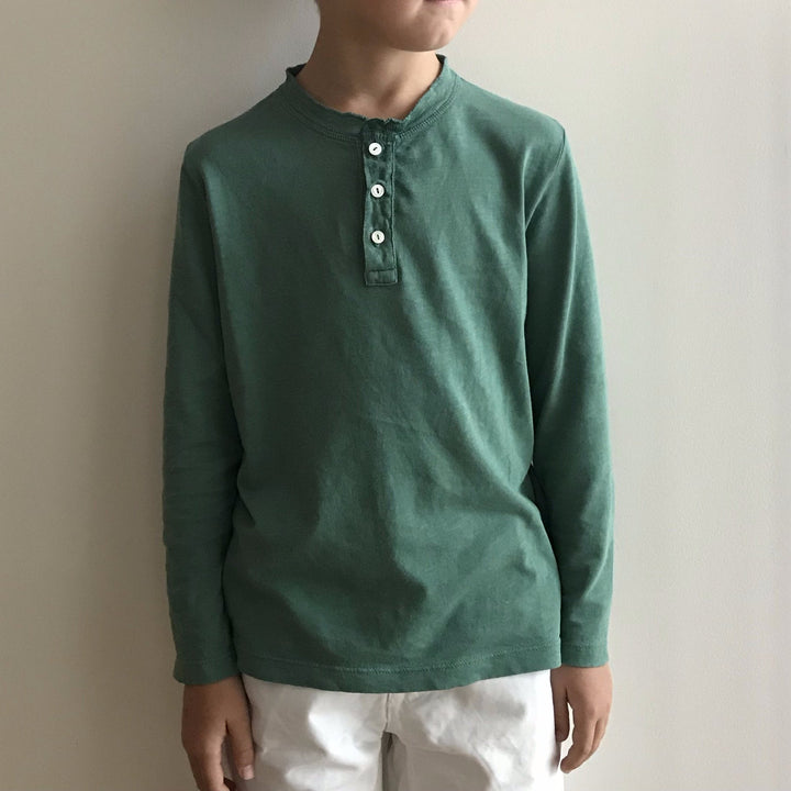 Emerald Green Henley Kid