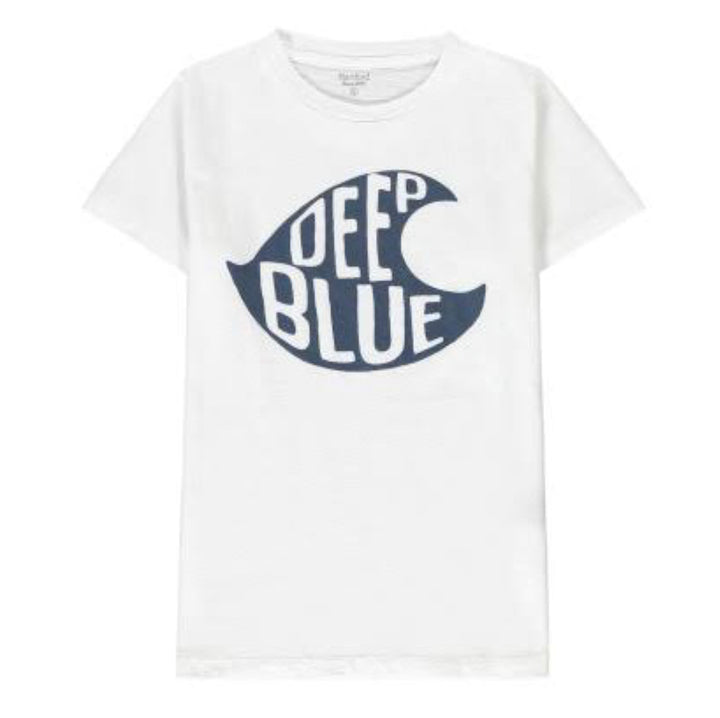Deep Blue Tee White