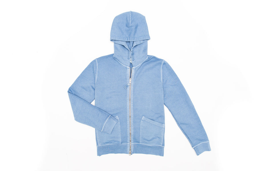 Mens Hoody Zip Up Light Blue