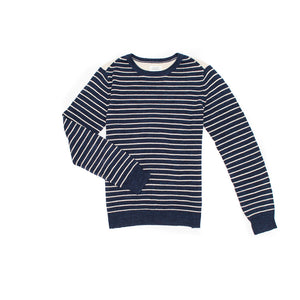 Cotton Knit Navy/Beige Stripe