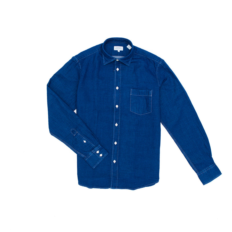 Cotton Shirt in Dark Denim