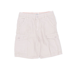 Cotton / Linen Cargo Shorts In Navy & Beige