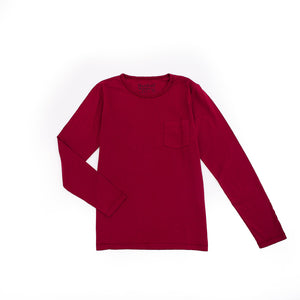 Long Sleeve Pocket Crew In Red Kid