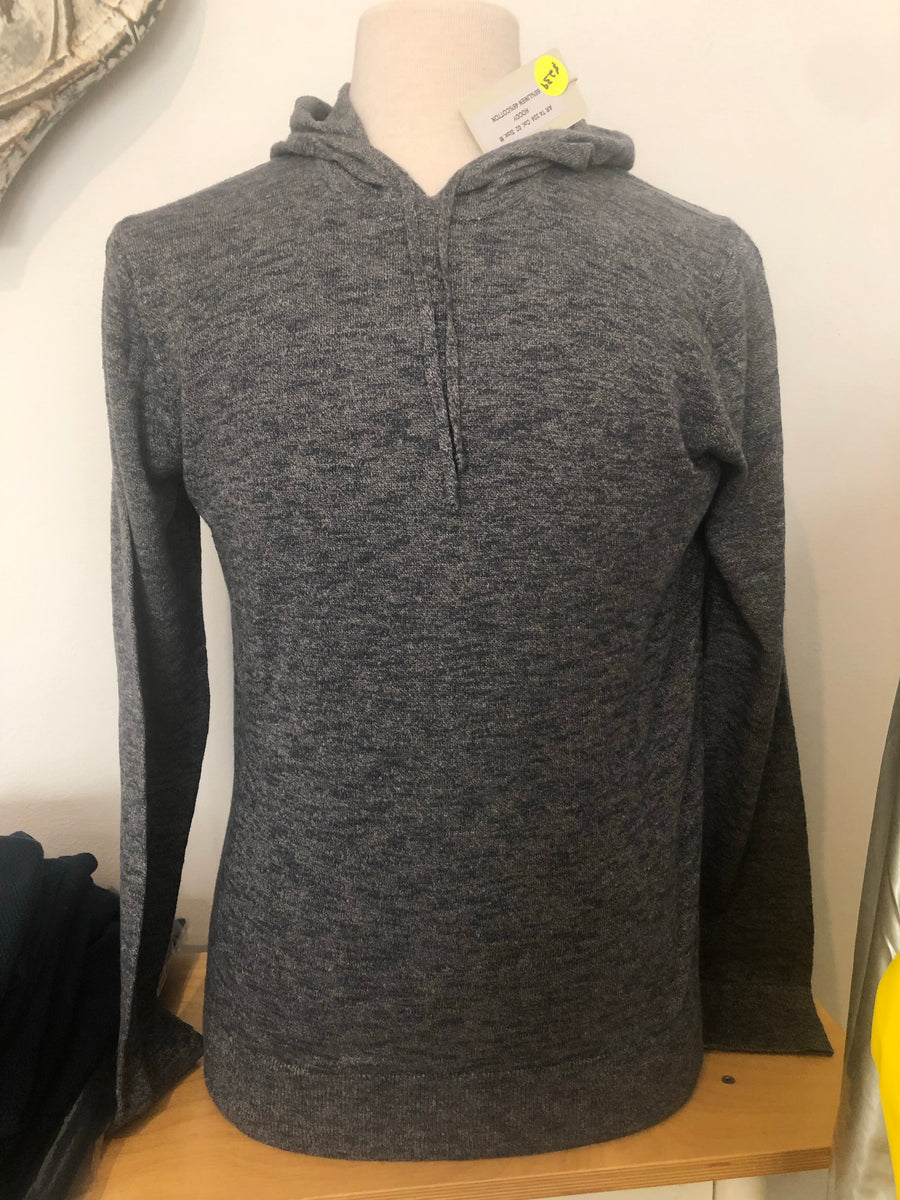 Mens Linen Hoody In Grey