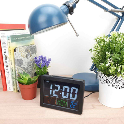 Checkmate Addyson Rainbow LED Alarm Clock Black 14cm VGW 2000B 2