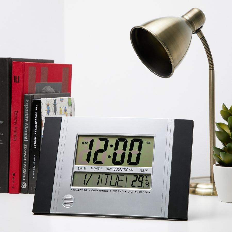 Checkmate Connerty Multifunction Digital Wall and Desk Clock Black 29cm VGW 601Black Lifestyle1