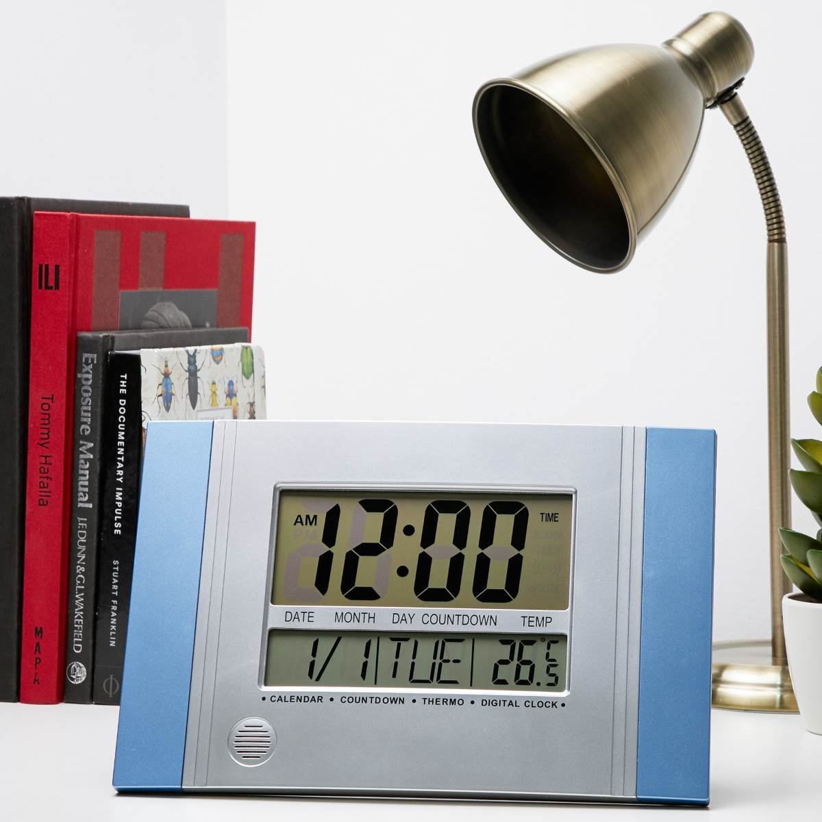 Checkmate Connerty Multifunctional Digital Wall and Desk Clock Blue 29cm VGW 601Blue Lifestyle1